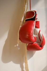 Red Boxing Gloves Hanging on Wall